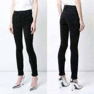 MOTHER high waist looker skinny jeans black suede
